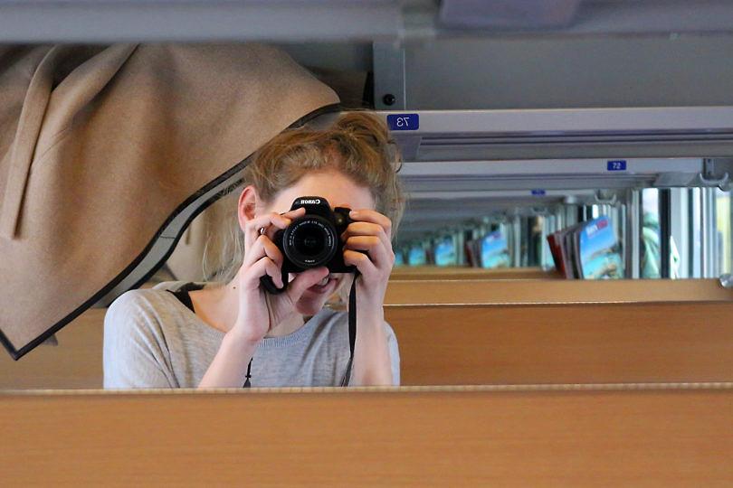 Foto: Selbstporträt im Zugabteil, 2016